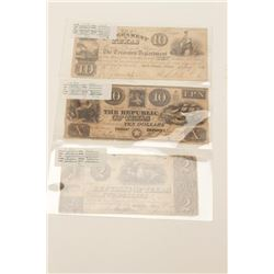Lot of 3 Texas Treasury notes including:  1.  Republic of Texas $10 Treasury Dept. note,  hand signe