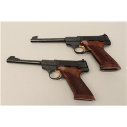 Finely presentation hardwood double cased set  of 2 Browning Challenger Model  semi-automatic pistol
