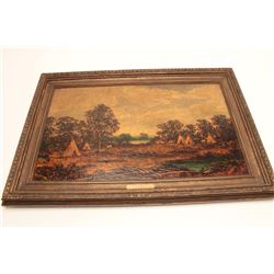 """Oil on canvas signed Blakelock and titled  """"Indian Encampment"""" Measures 22 3/8"""" x 36  1/8"""". This art"""