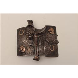 Magnificent custom sterling silver and 10K  gold marked buckle in form of Mexican saddle  signed GH-