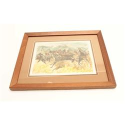 """Colored etching entitled """"Bringing Them In""""  signed R. H. Palemke; approximately 13.75"""" x  16.5""""."""