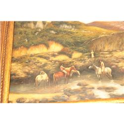 Unsigned oil on board in classic Santa Fe  style. Good quality. Similar to Curtis  Delano. Est.: $50