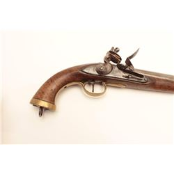 """19th century Belgium flintlock pistol with  brass mounts. Measures 16"""" overall and  approximately .6"""