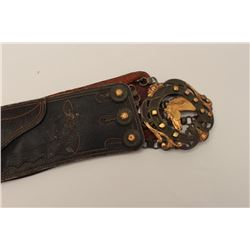 Mexican dress belt buckle with fancy gold and  silver buckle. Circa 1900-$1915. Very  impressive. Es