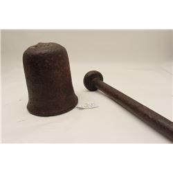 18th to 19th century cast iron crucible with  pestle for removing gold and silver ore from  rock. Fo