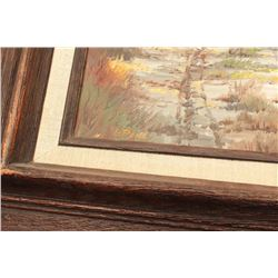 "Painting signed lower left ""G. Pond"", titled  on back ""Leaving the Cottonwoods""; Winslow,  AZ artist"