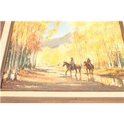 """In the Aspens"", signed L.L. and on reverse  with title, Winslow, AZ artist; approximately  18.5"" x"