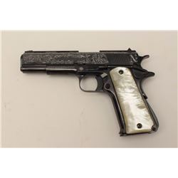 "Custom presentation cased and custom engraved  Llama semi-automatic pistol, .45 caliber, 5""  barrel,"