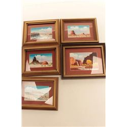Set of 5 original miniature paintings signed  Robert Draper.    From the estate of Elmer E.  Taylor.