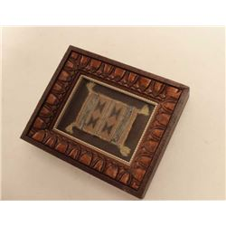 Two miniature pictorial rugs of Yei dancers  framed.  Collected pre-1972 by Elmer E.  Taylor.      F