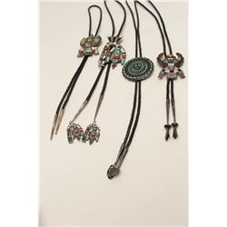 Collection of 4 Zuni bolo ties, 2 signed,  1970's.   From the estate of Elmer E. Taylor.      Est.: