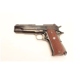 "Spanish Llama semi-automatic pistol, .38  Super caliber, 5"" barrel, blued finish,  checkered wood me"