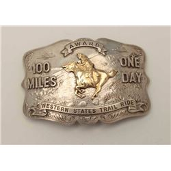 Vintage Western Style Buckle Award for 100  Mile One Day Western States Trail Ride.  Marked Irvine a