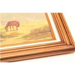 "Original oil oil board entitled ""The  Pasture"", signed Llyod J. Mitchell, known  Southern Calif. art"