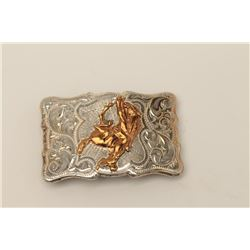 "Classic sterling silver marked and sight belt  buckle by Longhorn Co., Dallas, TX. Measures  3 ½"" wi"