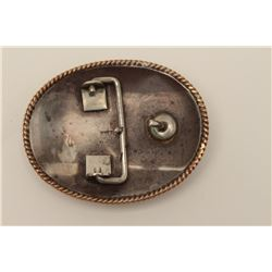 "Classic sterling silver marked western belt  buckle inscribed ""Eddie McGarraugh, May  26,1962"" and s"