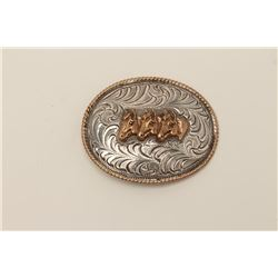 Vintage sterling marked western style belt  buckle with 3 stallions at the center. Hand  engraved an