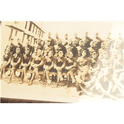 "Wide view photo of WW I soldiers marked LL  ""Co. C, 103 Ammunition Train, Lt. John  R.  Yose, Comdg."