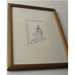 "Pen and ink of Native Indian with salmon,  signed on the lower left ""A. Tierella"" (?);  6"" x  4"" ove"