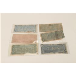 Lot of six authentic Confederate notes from  collection; various denominations and  condition; all h