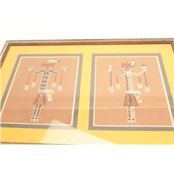 Two sand paintings by an American Indian  artist, collected pre 1974 by Elmer E.  Taylor; approximat