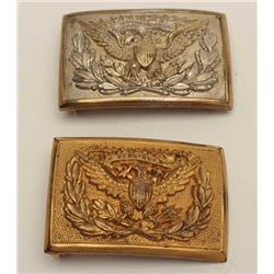 Model 1874 Eagle U.S. Officer's Buckles, (2)  1 silvered, 1 gold plated, good to very good  conditio