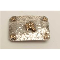 "Western Silver Smith's (Vista, CA) marked  Sterling Silver Buckle, back inscribed ""To  Don, with all"