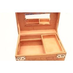"Mexican tooled leather Train Case.  The case  measures 12"" long by 8 ½"" across and 6 ½""  deep.  The"
