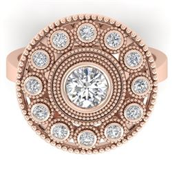 0.91 CTW Certified VS/SI Diamond Art Deco Ring 14K Rose Gold - REF-135K8R - 30463