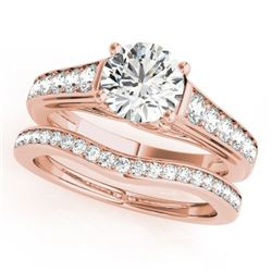1.7 CTW Certified VS/SI Diamond Solitaire 2Pc Wedding Set 14K Rose Gold - REF-407T3X - 31629