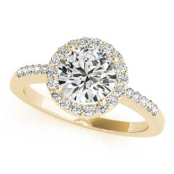 0.50 CTW Certified VS/SI Diamond Solitaire Halo Ring 18K Yellow Gold - REF-69T6X - 26322