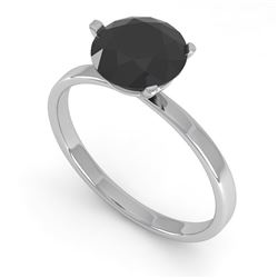 1.50 CTW Black Certified Diamond Engagement Ring Martini 18K White Gold - REF-59X3T - 32241