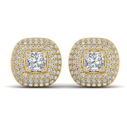 2 CTW Princess VS/SI Diamond Art Deco Stud Micro Halo Earrings 14K Yellow Gold - REF-255M3F - 30449