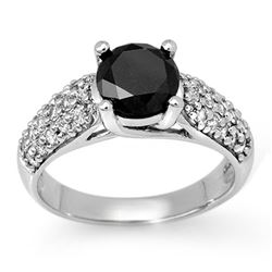 2.05 CTW Vs Certified Black & White Diamond Ring 14K White Gold - REF-89M3F - 11866