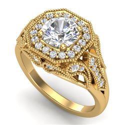 1.75 CTW VS/SI Diamond Solitaire Art Deco Ring 18K Yellow Gold - REF-436F4M - 37321