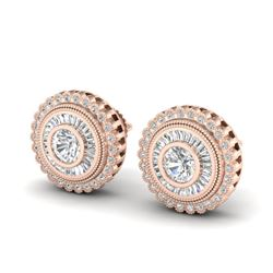 2.61 CTW VS/SI Diamond Solitaire Art Deco Stud Earrings 18K Rose Gold - REF-381F8M - 37083