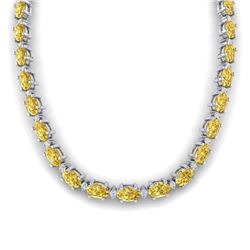 46.5 CTW Citrine & VS/SI Certified Diamond Eternity Necklace 10K White Gold - REF-226R2K - 29419