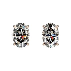 1 CTW Certified VS/SI Quality Oval Diamond Solitaire Stud Earrings 10K Rose Gold - REF-143N6Y - 3306