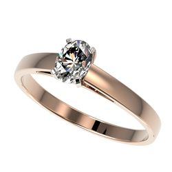 0.50 CTW Certified VS/SI Quality Oval Diamond Engagement Ring 10K Rose Gold - REF-77F6M - 32963