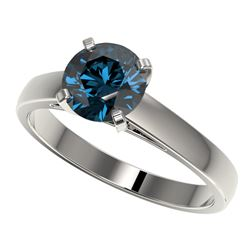 1.50 CTW Certified Intense Blue SI Diamond Solitaire Engagement Ring 10K White Gold - REF-254T5X - 3