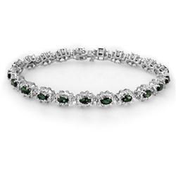 9.42 CTW Emerald & Diamond Bracelet 18K White Gold - REF-401Y3N - 13992