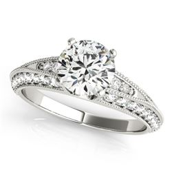 1.33 CTW Certified VS/SI Diamond Solitaire Antique Ring 18K White Gold - REF-209M3F - 27258