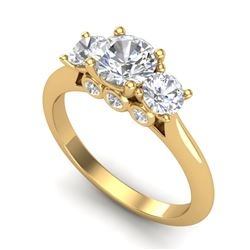 1.5 CTW VS/SI Diamond Solitaire Art Deco 3 Stone Ring 18K Yellow Gold - REF-236F4M - 37315