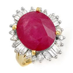 9.68 CTW Ruby & Diamond Ring 14K Yellow Gold - REF-123N5Y - 13269