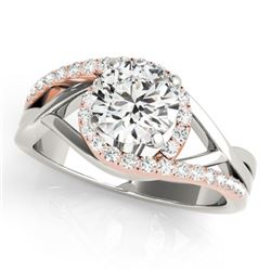 1.3 CTW Certified VS/SI Diamond Bypass Solitaire Ring 18K White & Rose Gold - REF-396H5W - 27687