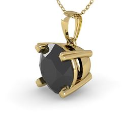 1 CTW Black Diamond Designer Necklace 14K Yellow Gold - REF-40N4Y - 38420