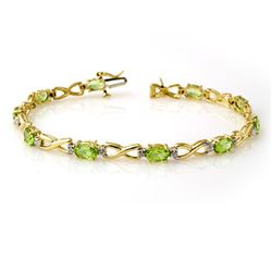 5.03 CTW Peridot & Diamond Bracelet 10K Yellow Gold - REF-43N3Y - 13451