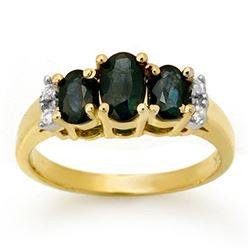 1.33 CTW Blue Sapphire & Diamond Ring 14K Yellow Gold - REF-38X2T - 14004