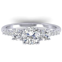 1.5 CTW Certified VS/SI Diamond Art Deco 3 Stone Ring 14K White Gold - REF-215H3W - 30459