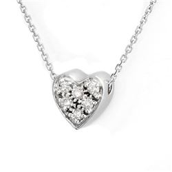 0.20 CTW Certified VS/SI Diamond Necklace 18K White Gold - REF-38F2M - 10078